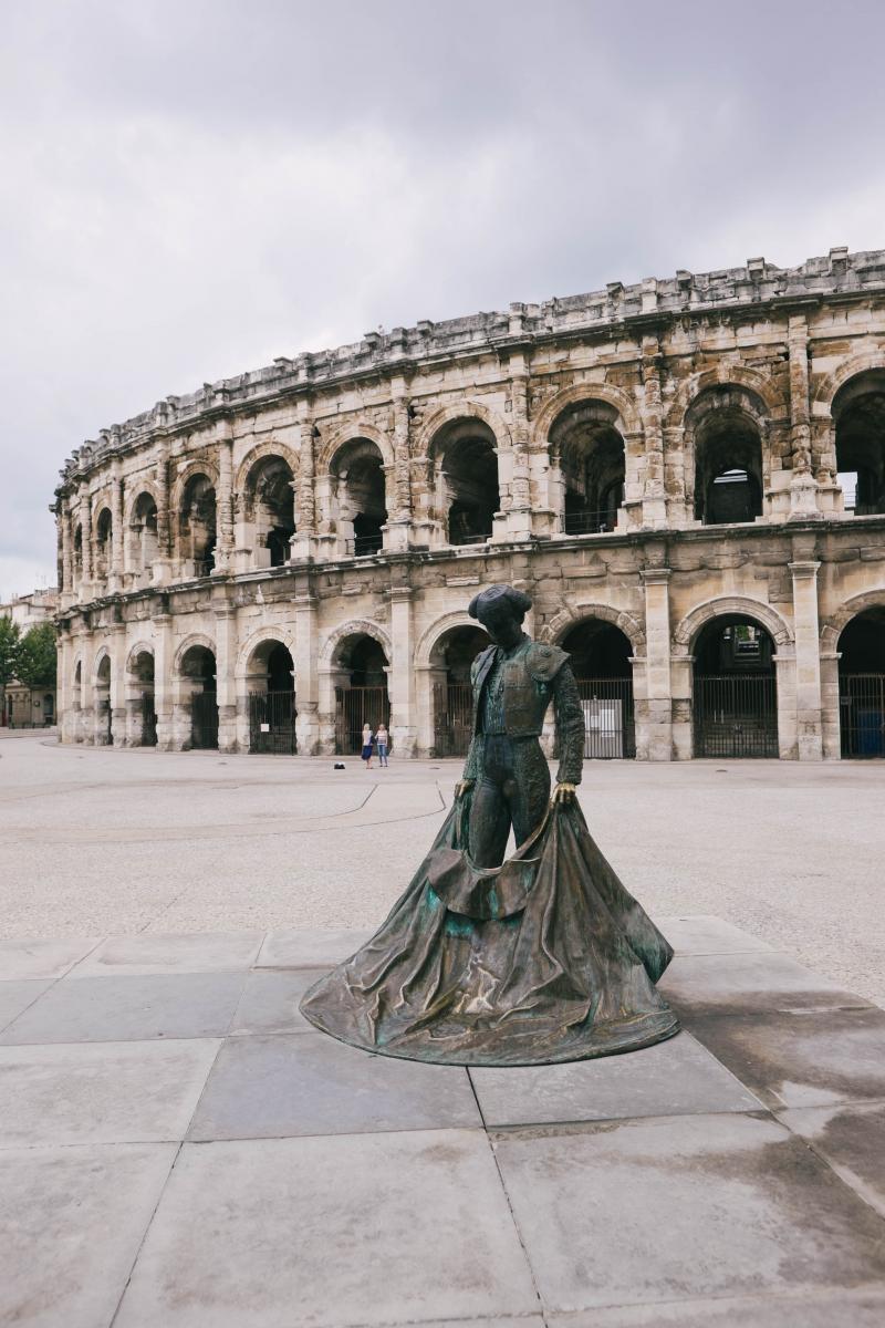 Prise de vue des arènes de Nîmes