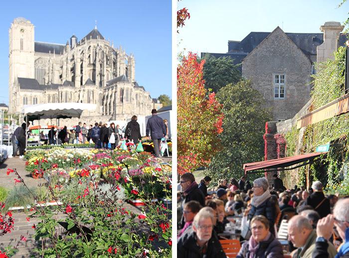 Prise de vue du marché et de la Cathédrale Saint-Julien au Mans