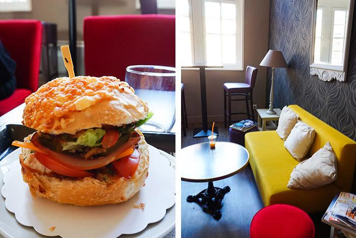 Prise de vue d'un hamburger maison à l'Opéra des Délices